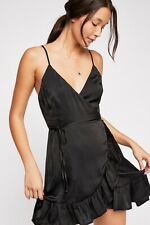 Intimately Free People Womens Small All My Love Shine Wrap Slip Dress Black