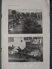 1916 WWI WW1 PRINT ~ STRETCHERS QUAYSIDE BEFORE HOSPITAL SHIP ~ CARRYING WOUNDED