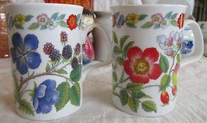 2 Roy Kirkham Botanical Flowers Coffee Tea Cup/Mug Fine Bone China 1992 England