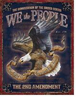 We The People 2nd Amendment Bear Arms America Eagle Wall Decor Metal Tin Sign