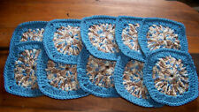 Hand Crocheted Granny Squares - Blue with Multiple Colors