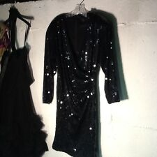 Black Flat Sequin Cocktail Dress S