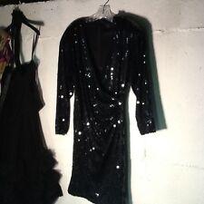 Black Flat Sequin Cocktail Dress S