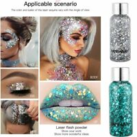 Holographic Glitter Sequins Festival Face Hair Body Makeup Nail EyeShadow Gel