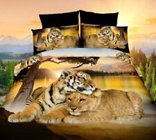 4pcs 3D Oil Printing Bedding Set Tiger and Lion Bed Clothes Comforter Cover Bed