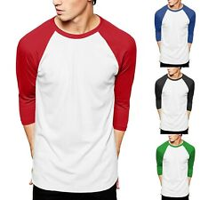 Mens Raglan T Shirts Baseball Tee 3/4 Sleeve Casual Active Plain Solid Sports