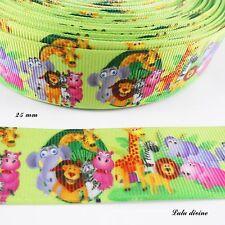 Ruban gros grain vert Les animaux de la jungle de 25 mm vendu  au mètre