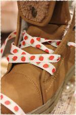 Coppia Stringhe colori Fashion BIANCHE CON FRAGOLINE 115 cm * shoes strings