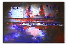 BURGSTALLER Original Gemälde Leinwand Bild Abstrakte Malerei Kunst Blau Rot XXL