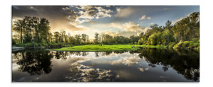 Glasbild Nature | Wald See Landschaft | Bild Wandbild 125 x 50 x 0,4 cm