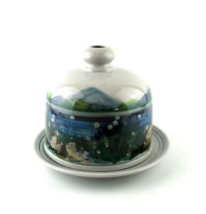 Highland Stoneware Cheese Dome and Stand  Landscape