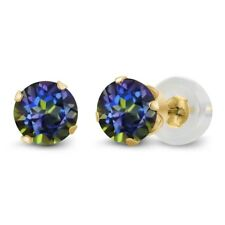 1.20 Ct Round Blue Mystic Topaz 14k Yellow Gold 4-prong Stud Earrings 5mm