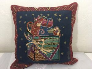 Laurel Burch Friends Christmas Presents Decorative Tapestry Throw Pillow NWT