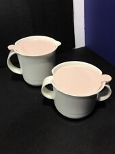Tupperware Sugar Bowl 2310A-1 & Creamer 2309A-3 Pink Rose Lids 2311A Free Ship