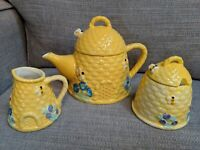 Bee Happy Co.~Bee Hive~Tea Pot~Creamer & Sugar Set~Blue Flowers & Honey Bees~New