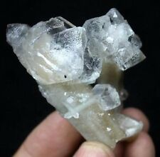 Super clear transparent Fluorite on Quartz cluster Huanggang mine China CM472401