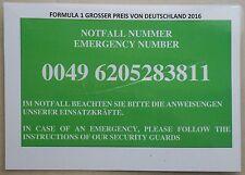 2016 Formel 1 Paddock Club Hockenheim Notfallnummer Panel book brochure prospekt
