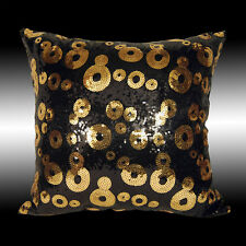 LUXURY SHINY BLACK GOLD CIRCLES SEQUINS DECO THROW PILLOW CASE CUSHION COVER 16""