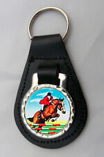 Show Jumping Black Leather Key Fob New Keyring Gift Equestrian Horse Riding Pony