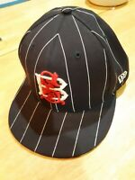 New Era 59 Fifty baseball cap black pinstripe wool 7 1/2""