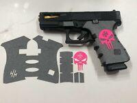 HANDLEITGRIPS Gray Textured Rubber Grip Tape Wrap Pink SKULL KIT for Glock 44