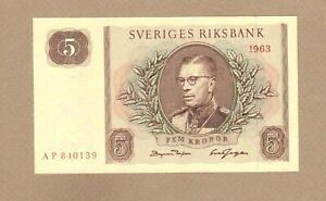 SWEDEN: 5 Kronor Banknote,(UNC),P-50b,1963, No Reserve!