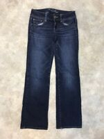 American Eagle Women's Blue Dark Wash Stretch Slim Boot Denim Jeans Sz 4S