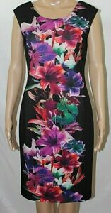 Frank Lyman Black Dress Pink Purple Flowers Sleeveless NWT Style 54672 Size 4