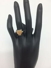 Silver Fashion Ring Amber Style Heart Stone