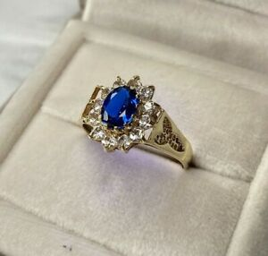 9ct Yellow Gold Sapphire & Cubic Zirconia Cluster Ring Size V 1/2 UK Hallmarked