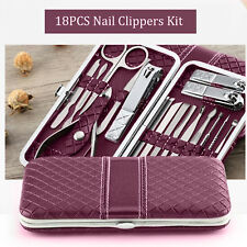 18pcs Pedicure Manicure Set Stainless Steel Nail Clipper Kit Cuticle Grooming AU