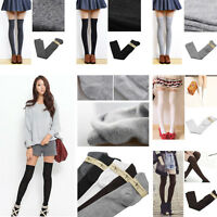 Women Girls Long Over The Knee Cotton Socks Thigh High Soft Cotton Stockings