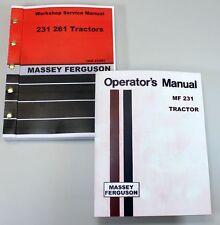 SET MASSEY FERGUSON 231 TRACTOR SERVICE REPAIR OWNERS OPERATORS MANUALS SHOP