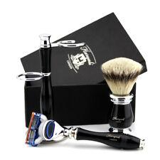 Silver Tip Badger Hair Brush & 5 Edge Cartridge Razor + Stand Men's Shaving Set