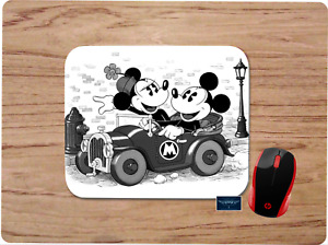 MICKEY MINNIE DISNEY INSPIRED BLACK & WHITE MOUSE PAD DESK MAT WORK OFFICE GIFT