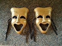 Vintage Set Of 2 Made In India Century Distinctive Gifts Brass Laughing Masks