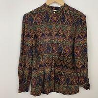 Dana Buchman M Top Silk Artsy Button Front Long Sleeve Blouse Size Medium