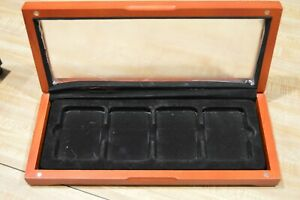 Wood Presentation Box Case For 4 Coin Slabs.   Glass Top Display.  Used