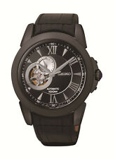 New Seiko SSA243 Le Grand Sport Black IP Leather Strap Men's Automatic Watch