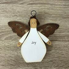Russ Handcrafted Wooden Metal Little Flat Hanging Joy Angel Ornament Decoration