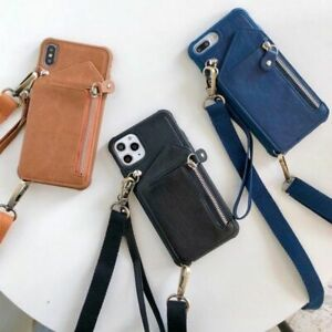 Shoulder Card Holder Cover Wallet Strap Case for iPhone SE X XR XS 12 11 PRO MAX