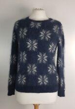 Jack Wills Damas copos de nieve Angora mezcla Mullido Suéter Jumper Reino Unido 8 Navidad