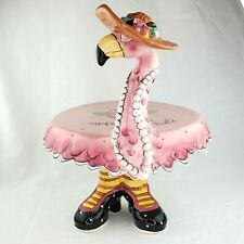 Blue Sky Clayworks Flamingo Cake Stand Miss Precious Retired Rare