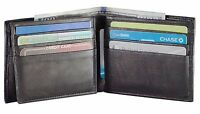 Mens Genuine Cowhide Leather Credit/ID Card Holder Bifold Wallet Slim Purse Gift