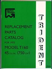 1975-76 Triumph Trident T160 OEM, Unissued, Original Parts Catalog