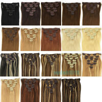 "15""18""20""22""24""26"" 7PCS Clip in 100% Human Hair Extensions Straight 19colors New"