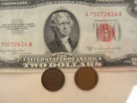 3=1+ 2 RARE VALUE SALE: One Red Seal US$2 Bill Paper +Two Old One Cent USA Coins