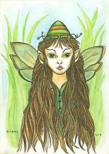FAIRY ELF WOODLAND GIRL GREEN EYES LISTED ARTIST FOLK ART WATERCOLOR PAINTING