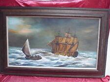 Sublime, Vieux, Grande Peinture Marines __Voiliers__ Signé __121cm