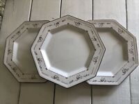 "3 Vintage Johnson Brothers Madison Octagonal Dinner Plate 10"" England"